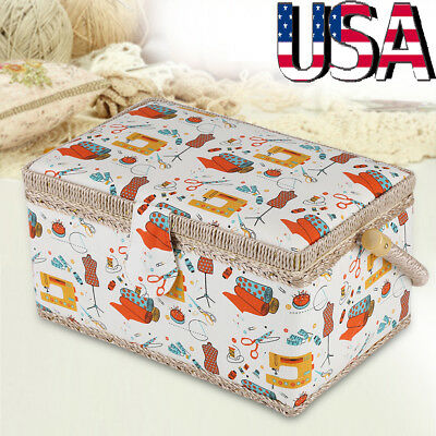 Floral Print Twin LiddedI Padded Sewing Basket/Craft Box Wtih Handles  Household