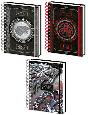 Official Game Of Thrones A5 House Sigil Notebooks Spiral Bound Lined TV Gift GOT