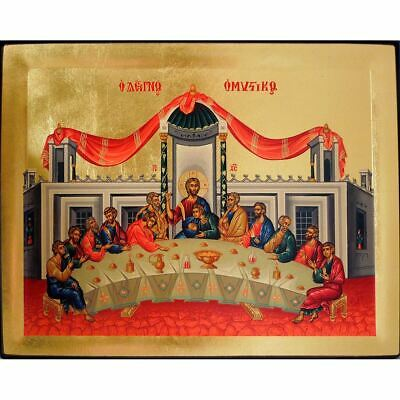 """Mystical Supper Wooden Greek Serigraph Icon 7 1/4""""x5 3/4"""""""