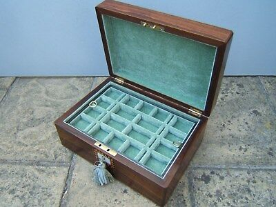 Lovely 19C Figured Rosewood Inlaid Antique Jewellery Box - Fab Interior