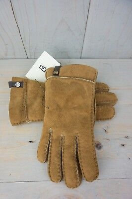 01a48af71 UGG CHESTNUT TENNEY Suede Sheepskin Cuff Winter Gloves ~ Womens ...
