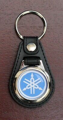 YAMAHA Black Leather Style Keyring with Blue Yamaha Logo (1002)