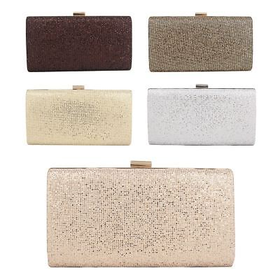 Glitter Shimmer Sparkly Wedding Bag Ladies Party Prom Evening Clutch Box Bag