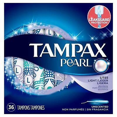 Tampax Pearl Plastic Tampons, Light Absorbency, Unscented, 72 Count - Pack of 2