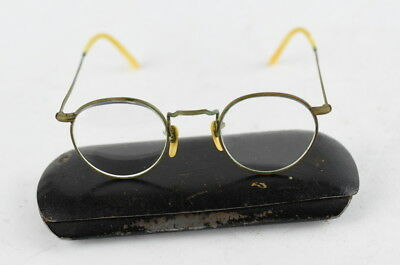 WW2 Antique German Spectacles reading glasses tin Metal Case box Gilt Frame WWII