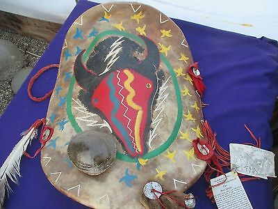 Vintage American Indian War shield Authentic by A Shah men Turtle Shell & more!