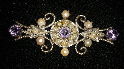 """ANTIQUE STERLING SILVER AMETHYST & SEED PEARL PIN BROOCH 2 3/8""""(6 cm) x 1 1/8"""""""