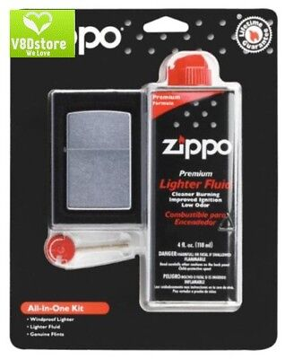 Zippo All-In-One KitGift Set Street Chrome Unisex Lighter 4oz Fluid