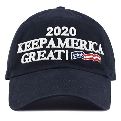 The Hat Depot Exclusive Trump 2020 Keep America Great Cotton Cap-Navy