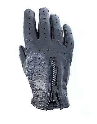 Driving Motorcycle Riding Touring Gloves - Black - Genuine Leather - Men's