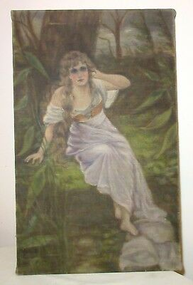 antique original 19th century Victorian figural lady oil painting linen tapestry