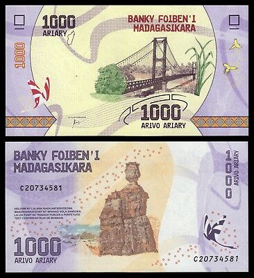 Madagascar 1000 Ariary ND 2017 Pick 100   SC = UNC