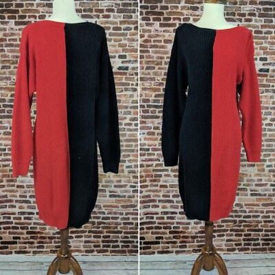 c2deee6846a Vintage 80's Sweater Dress Black and Red Stefano Sz L Large Acrylic Long  Sleeve