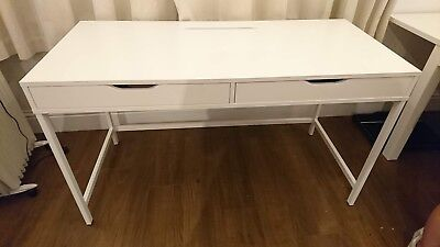 Ikea Alex Desk In White. Two Drawers. Cable Management System.