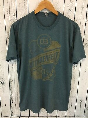 LONE TREE BREWING CO. Octoberfest 2015 T Shirt Blue Size Large Colorado Brew N1