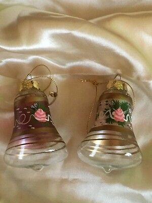 Vintage Victorian Style Handpainted Glass Bells Christmas Tree Ornament