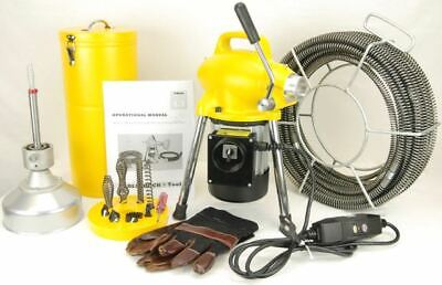 "S75 BLUEROCK ® 3/4"" to 4"" Sectional Pipe Drain Cleaning Machine Snake Cleaner"