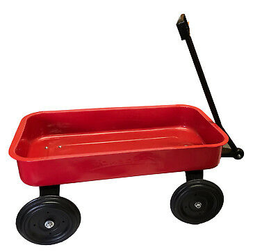 Classic Toy Red Metal Kids Wagon Long Reach Handle Large Steel Bed Vintage Cart