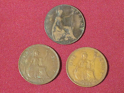 *** Three Large  Penny  Coins (Great Britain)    1906, 1938 & 1940