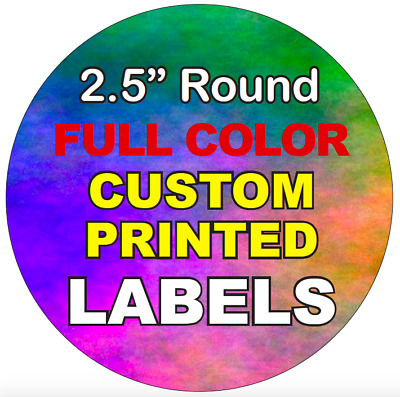 "Full Color Labels, Custom Printed 2.5"" Round Circle Stickers, High Quality rolls"