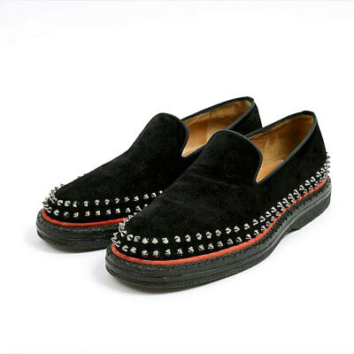 e64d2aa47cd2 Authentic Christian Louboutin Spikes Studs Suede Slip on Black Orange  Size41US8