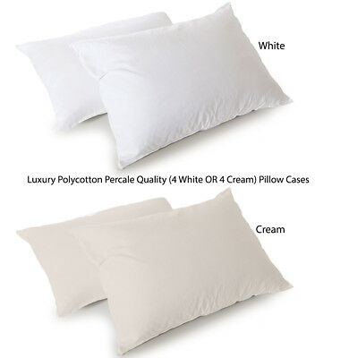 4xPillow Cases Of Luxury Hotel Quality Polycotton Percale 180TC White OR Cream