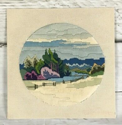 Vintage completed tapestry long stitch - Australian river and landscape