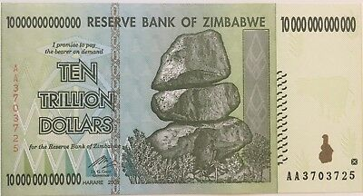 "10 Trillion Dollar Zimbabwe Banknote - AA Uncirculated ""Free OZ Shipping"""