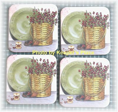 4 Longaberger Basket Coasters STILL LIFE Pip Berries Plate Country Candle  New