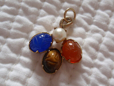 Vtg GF Gold Filled Carved Scarab Charm Blue Cats Eye Tigers Eye Carnelian