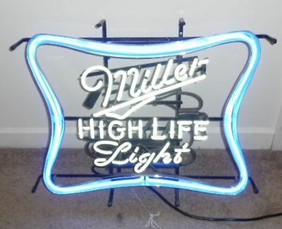 "Neon Miller High Life Light Beer Sign w / dimmer Switch Large 27""W x 22""H x 4"""