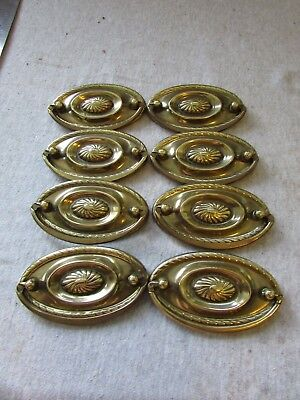 (8) VTG Furniture Drawer Drop Ring Pulls Brass Hepplewhite Federal Pattern 3.5""