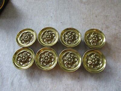 (8) VTG Furniture Hardware Drawer Pulls Knobs Brass Flower Sunflower 2""
