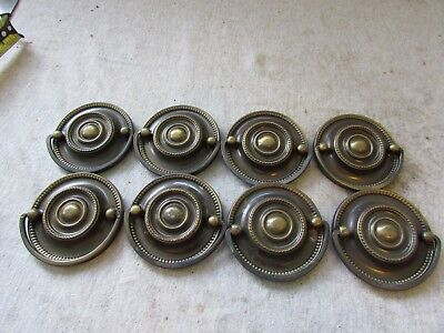 "(8) VTG Furniture Drawer Drop Ring Pulls Brass Hepplewhite 2.5"" Beaded Edge"
