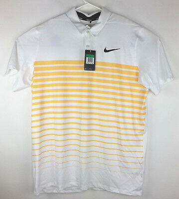 88875384 Nike Mens Dry Heather Stripe Golf Polo Shirt - 854258 101 - Sz XL - White