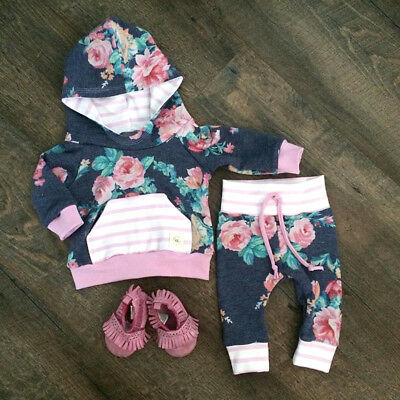Newborn Baby Girl Floral Stripe Hooded Tops Pants Leggings 2Pcs Outfits Clothes