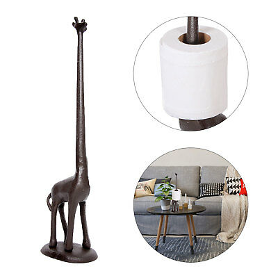 Vintage Iron Cast Giraffe Toilet Kitchen Tissue Paper Roll Holder Free Standing