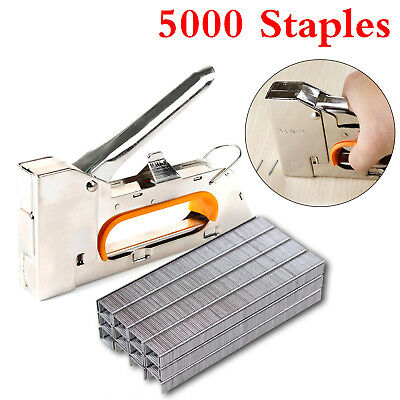 Heavy Duty Nailer Tacker 4/6/8mm Staple Gun Upholstery Stapler 5000 Staples UK