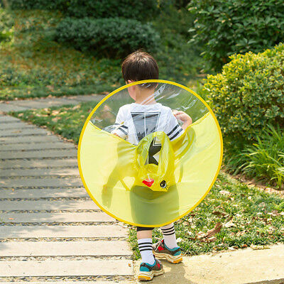 Foldable Cartoon Duck Kids Raincoat Umbrella UFO Shape Rain Hat Cape Flowery  USA 0be4193b824e