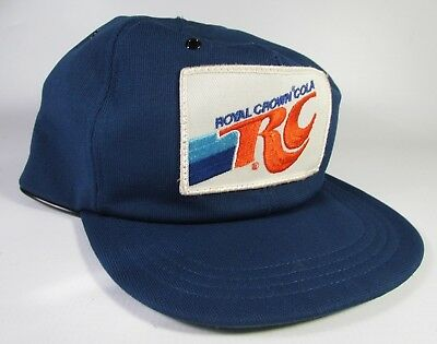 Vintage RC Royal Crown Cola Soda Patch Snap Back Hat Blue USA Made 1980's