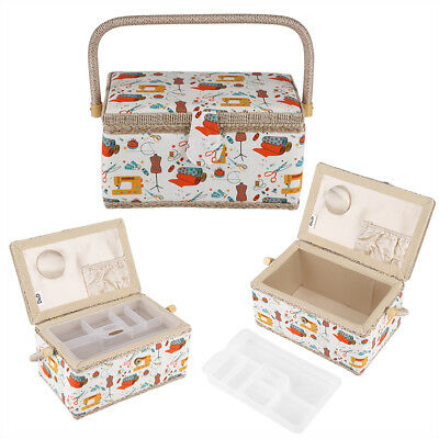 SEWING BOX BASKET Large Twin Lid OR Small Square 'SEWING NOTIONS' DESIGN QUALITY