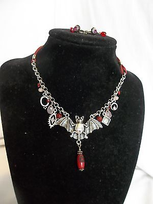 Gothic Style Vampire Bat Red Enchanted Silver Tone Necklace & Earrings OOAK