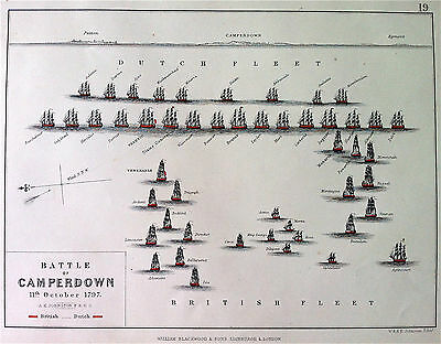 Military Map Battle of CAMPERDOWN 1797 Revolutionary Wars, by A K JOHNSTON c1875