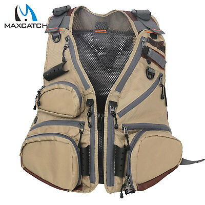 Maxcatch Fly Fishing Vest Pack Multi-pocket Adjustable Mesh Vest Jacket Outdoor