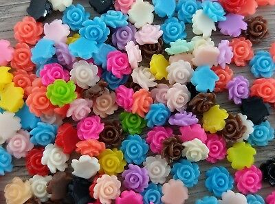 Resin Flower Cabochon 3x7mm - 50pcs - Small Floral Cabs with Flat Back FBC228