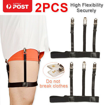2X Men Shirt Stay Belt with Non-slip Locking Clip Tucked Leg Thigh Garters Strap