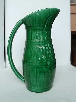Antique 1930 French Majolica Wine Pitcher Sarreguemines Green Grapes On A Barrel