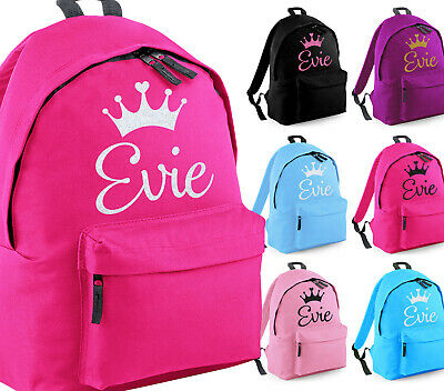 Girls Personalised Princess Queen Glitter Backpack Kids Dance School Crown Bag