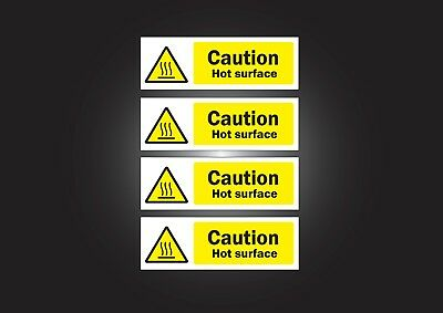Hot Surface Sign, Sticker, Food, Hygiene, Caution, 4 X Health and Safety Sticker