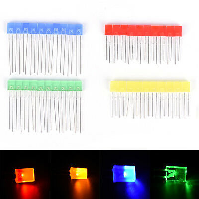 100pcs Rectangular Square LED Emitting Diodes Light Bulbs Yellow/Red/Blue/Gre FO